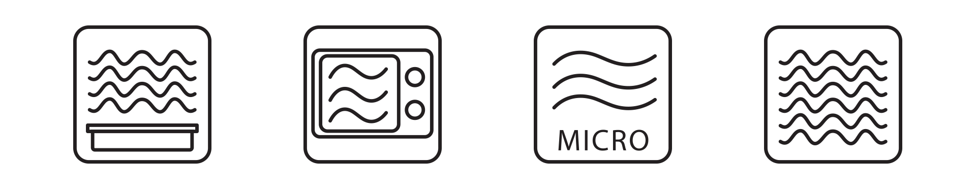 four symbols that represent microwave safe
