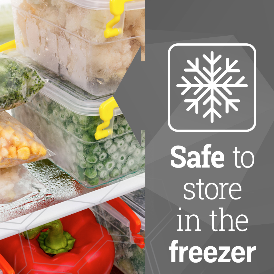 Frozen food in plastic containers sitting on freezer shelf